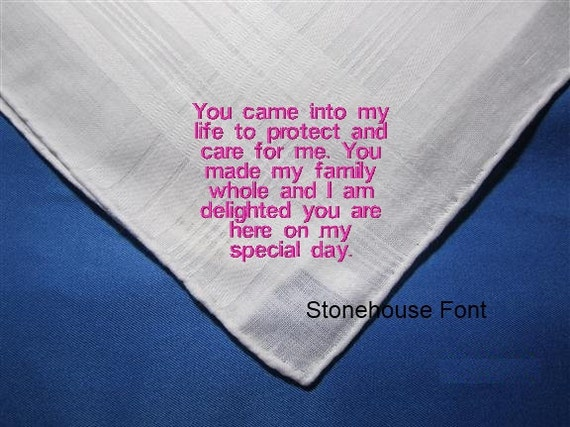 A Special Stepparent should get a Wedding Hankie Gift  - Adaptable for Male or Female handkerchief for an heirloom present.
