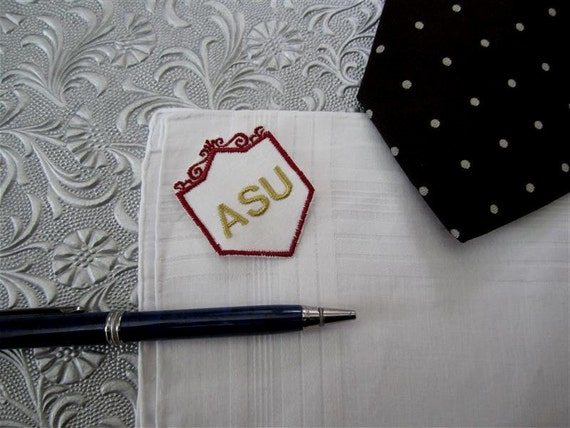 Pocket Hankie Fraternal, Alumni Gifts for Men. Embroidered Handkerchief, Wedding gift ideas for men.