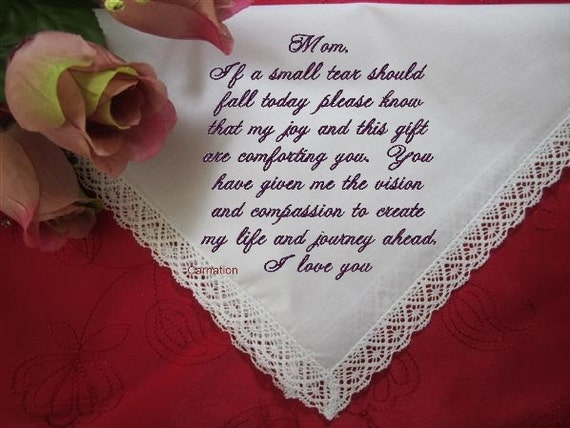 A Gift From A Mother To Her Daughter On Her Wedding Day : Daughters Love to Her Mother, custom handkerchief, on Your Special Day ...