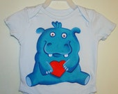 Blue Hippo with a heart 6M