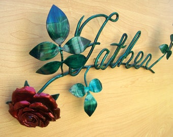 """Copper """"Father"""" with Rose Metal Sculpture"""