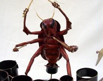 Oris,  Drummer of Roach  D.O.A. Copper and Brass Metal Sculpture
