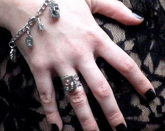Beautiful Steampunk Locket Ring, Vintage Watch Gears, Swarovski Crystals, Hand Crafted, OOAK