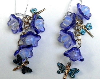 Rainbow Quartz Gemstones, Bluebells and Dragonfly Earrings, OOAK