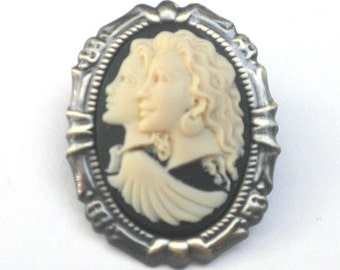 SALE, BFF Brooch/Pendent,  Cameo, Ivory, Onyx Resin