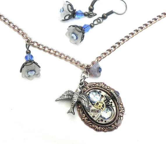 Steampunk Necklace and Earring Set