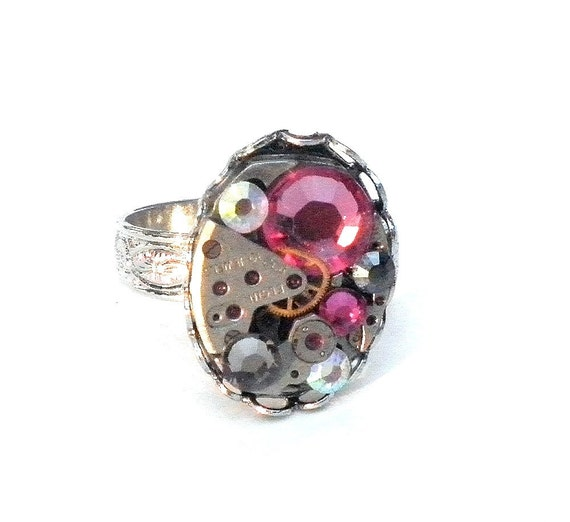 Steampunk Hot Pink Bubble Ring