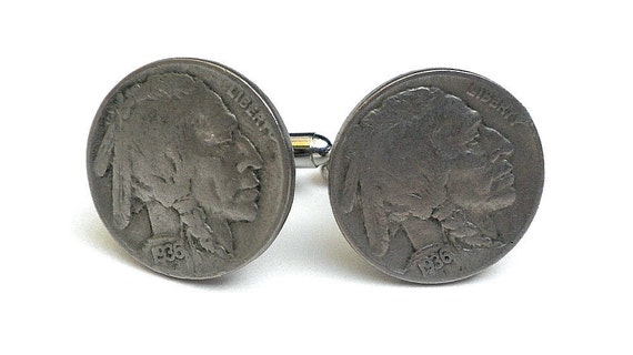 Last Pair, Authentic Indian Head Coin Cufflinks,Native American,Father's Day,Formal Wear,Men Women Accessories,Genuine Antique Nickels