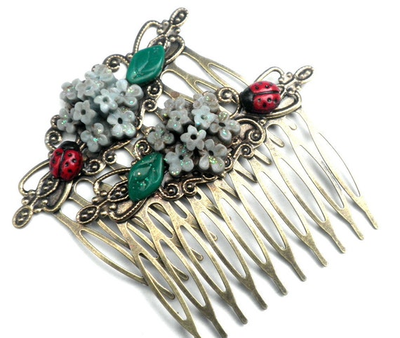 PS,Beautiful Flower and Ladybug Brass Hair Combs