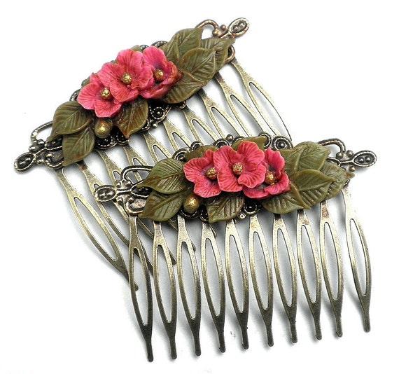 Lovely Pink Flower Brass Hair Combs