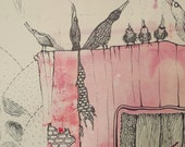 Song Patterns - singing birds and textures, original ink drawing on a pink ink monotype