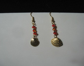 Handcrafted Tangerine reds and solar power crystals with seashell dangles