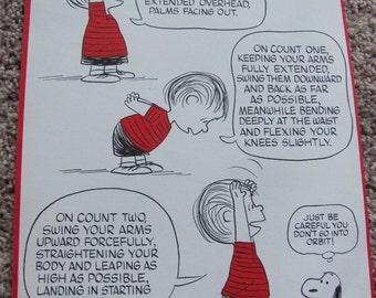 Vintage Peanuts Exercise Poster 10 x 15 - Jump and Reach