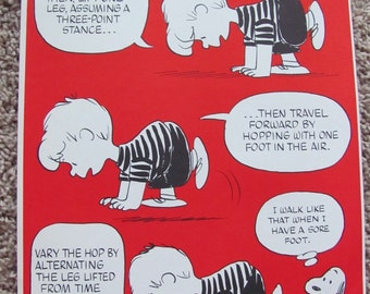Vintage Peanuts Exercise Poster 10 x 15 - Three Point Hop