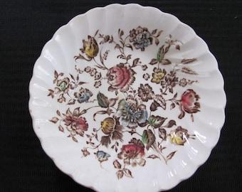 Vintage Small Dessert Bowl Staffordshire Bouquet