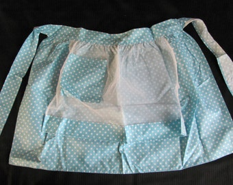 Beautiful Light Blue Polka Dot Ladies Half Apron - New Unused