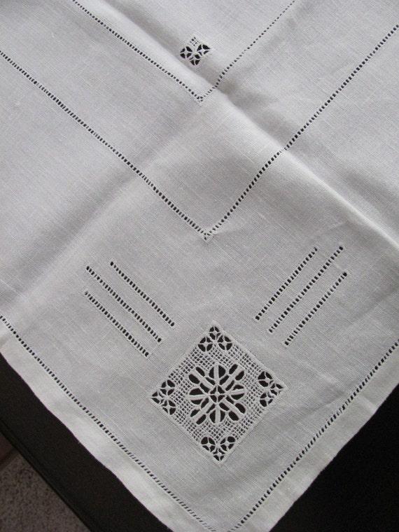 Soft White Square Antique Linen Tablecloth - 32 x 34