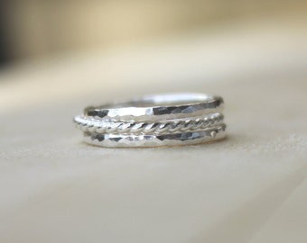 Stacking Rings - Set of 3 -  Twist and Sterling Silver Hammer Textured
