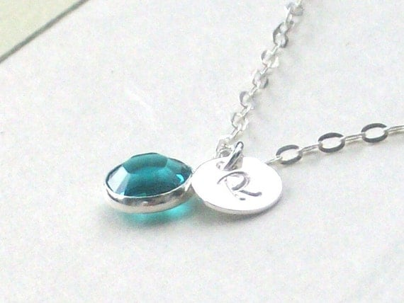 Little Cluster - Hand Stamped INITIAL and Custom BIRTH STONE Sterling Silver Necklace