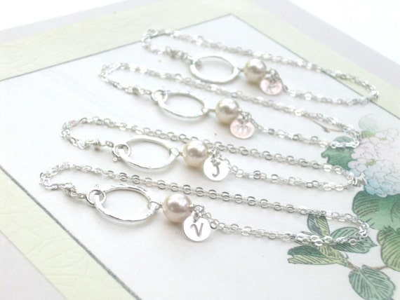 Set of 4 Swarovski Pearl Textured Hoop Sterling Silver Bracelet - PICK INITIAL Hand Stamped