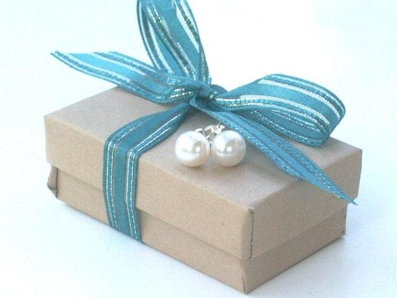 Pearl Studs - Sterling Silver Post Earrings, bridesmiad gifts, bridal, wedding jewelry LAST PAIR
