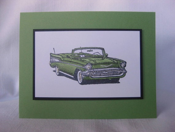 Classic Car Happy Father's Day Masculine Birthday Green card