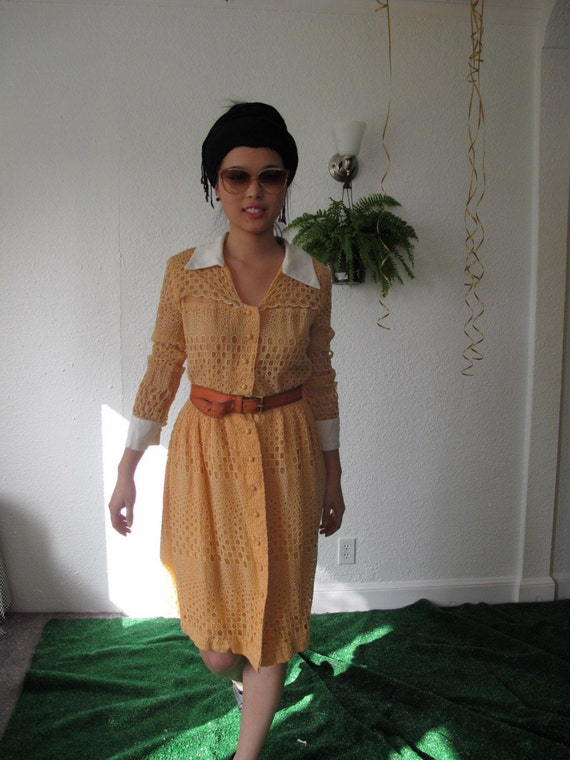 PREPPY Vtg 60s orange embroidery ball chic dress S M