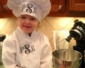 Personalized Monogrammed Chef Jacket with Matching Chef Hat for Children