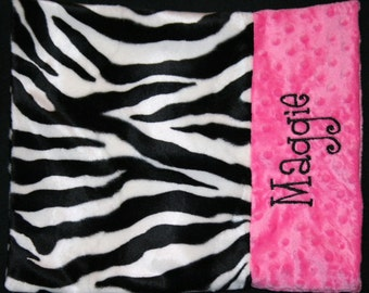 Personalized Monogrammed Custom Minky Toddler Travel Pillow Case in Zebra and Hot Pink