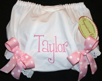 Personalized Monogrammed Diaper Cover with Bows