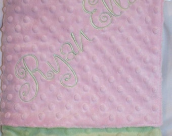 Personalized Monogrammed Pink and Sage Minky Crib Blanket
