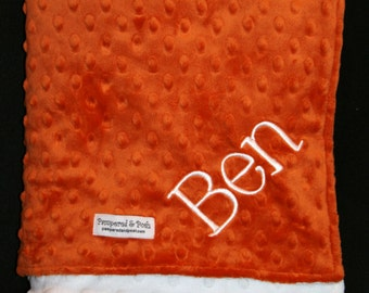 Personalized Monogrammed Burnt Orange and White Minky Crib Blanket