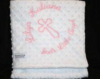 Personalized Monogrammed White Baptism Christening Dedication Religious Crib Blanket
