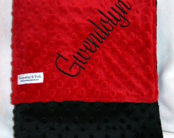 Personalized Monogrammed Red and Black Minky Crib Blanket