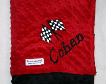 Personalized Monogrammed Race Crib Blanket in Red and Black Minky