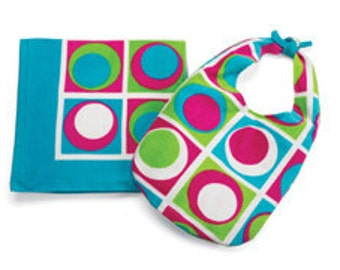 Personalized Monogrammed Square Dots Beach Towel and Slouch Bag
