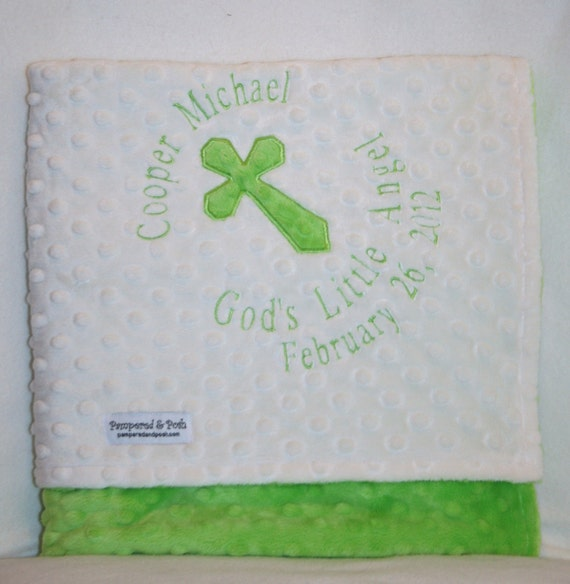 Personalized Monogrammed White Baptism Christening Dedication Religious Crib Blanket with Date