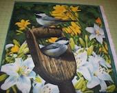 A Beautiful Hautman Grey Bird In the Garden Fabric Panel Free US Shipping