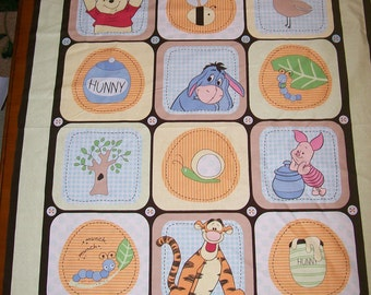An Adorable Winnie the Pooh and Friends Nature Fabric Panel Free US Shipping