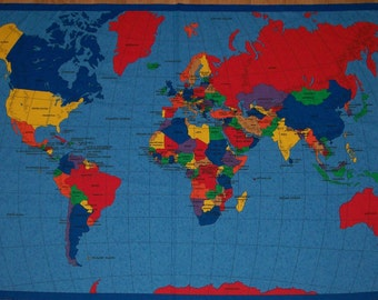 A Wonderful Map of the World Fabric Panel Free US Shipping