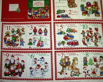 A Wonderful Holiday Twelve Days of Christmas Cotton Book Fabric Panel Free US Shipping