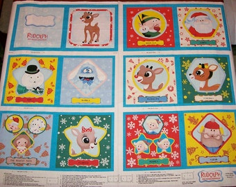 A Wonderful New Rudolph The Red Nosed Reindeer Book Fabric Panel Free US Shipping
