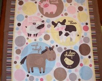 An Adorable Animal Talks Nursery Fabric Panel Free US Shipping