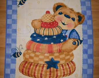 An Adorable Cuddle the Bear Fabric Panel Free US Shipping