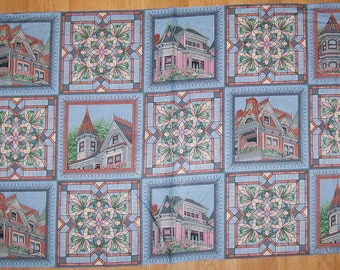 A Gorgeous Victorian Homes Fabric Panel Free US Shipping