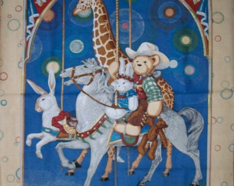 An Adorable Baby Bear And His Toys Carousel Nursery Fabric Panel Free US Shipping