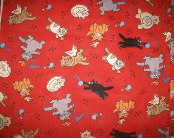 An Adorable Mischievous Kitty Cats Large Tossed Fabric By The Yard Free US Shipping