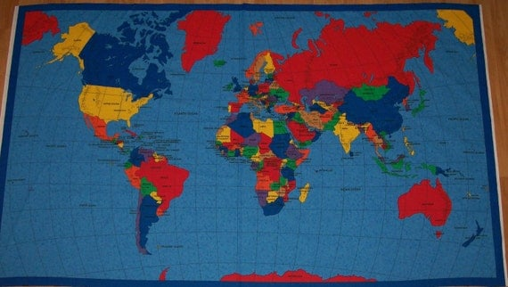 Worksheet. A Wonderful Map of the World Fabric Panel Free US Shipping