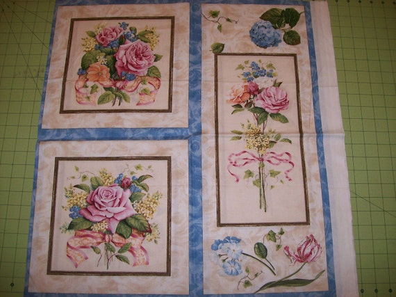 A Beautiful Coming Up Roses Fabric Panel Free US Shipping
