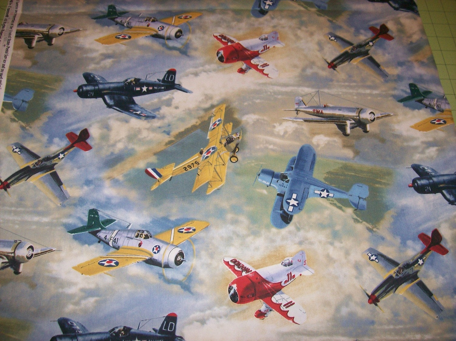 A wonderful vintage airplanes cotton fabric by for Airplane fabric by the yard